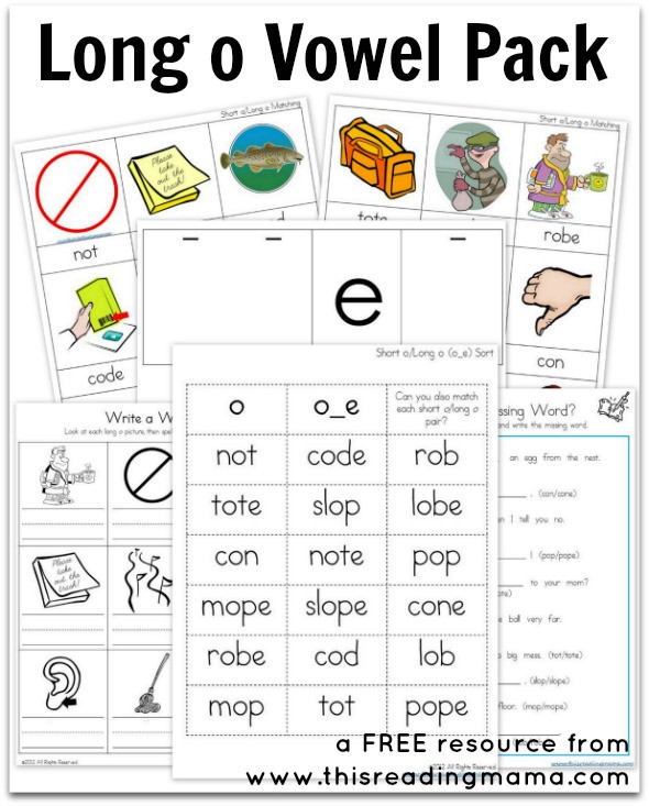 Short O Worksheets for Kindergarten Long O Vowel Pack Free Printable