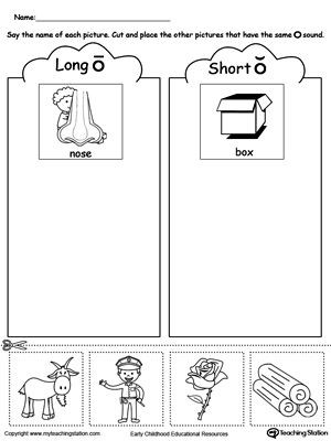 Short O Worksheets for Kindergarten Short and Long Vowel O Picture sorting