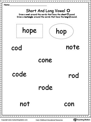 Short O Worksheets for Kindergarten Vowels Short or Long O sound Words