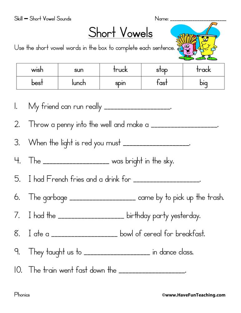 Short Vowel Worksheets 1st Grade Short Vowels Worksheet