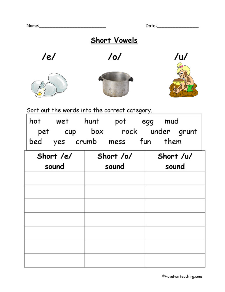 short vowels E O U