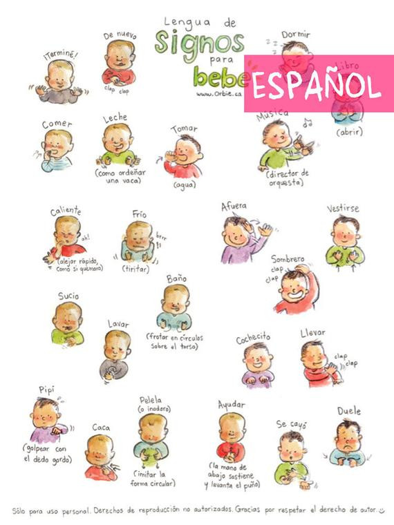 Sign Language Poster Printable Es Baby Sign Language Poster Spanish Printable Sign with Baby Munication to Print New Mom Parents T Speak Illustration A4 A3