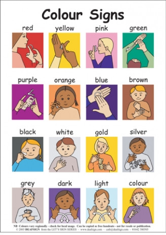 Sign Language Poster Printable Sign Language Colors Printable that are Shocking