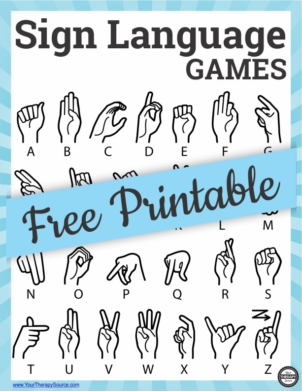 Sign Language Poster Printable Sign Language Games to Practice Finger isolation Your