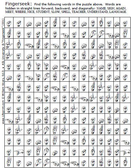 "Sign Language Printable Worksheets Fingerseeks"" American Sign Language asl Word Search Game"