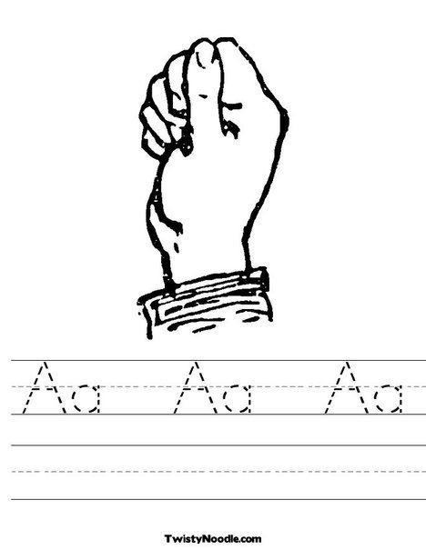 Sign Language Printable Worksheets Sign Language Letter A Worksheet From Twistynoodle