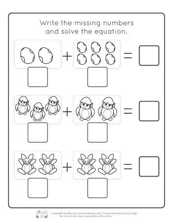 Simple Addition Worksheets for Kindergarten Easter Kindergarten Addition Worksheets Itsy Bitsy Fun