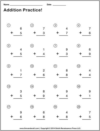 Simple Addition Worksheets for Kindergarten Simple Addition Worksheets for Kids