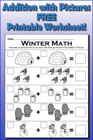 """Simple Addition Worksheets for Kindergarten Winter themed """"addition with """" Math Worksheet"""