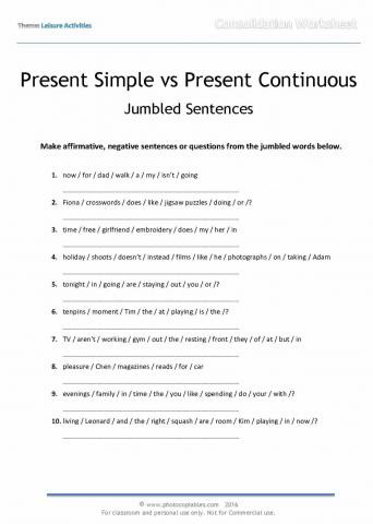 Simple Sentences Worksheet 3rd Grade Present Simple and Present Continuous Jumbled Sentences