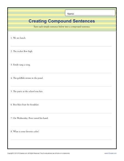 Simple Sentences Worksheet 3rd Grade Pund Sentence Worksheet