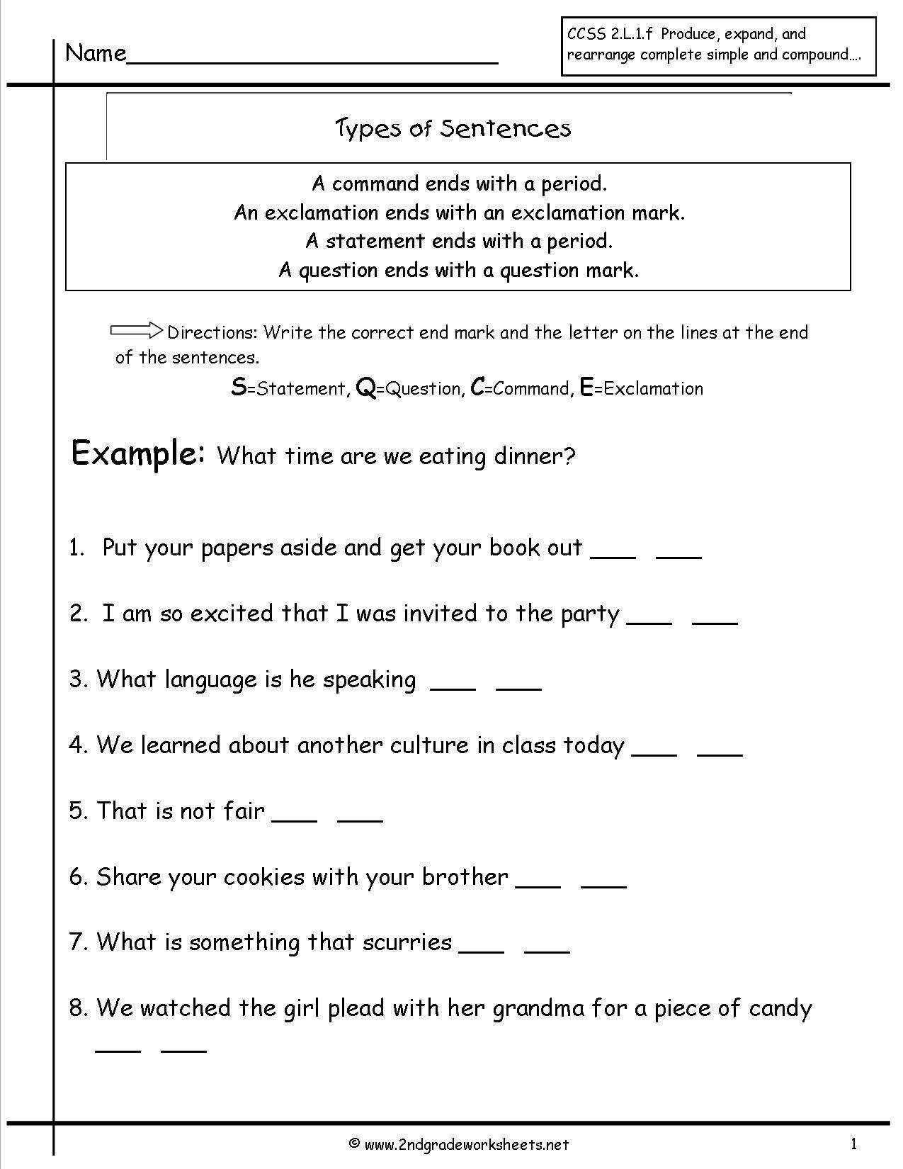 Simple Sentences Worksheet 3rd Grade Second Grade Sentences Worksheets Ccss 2 L 1 F Worksheets