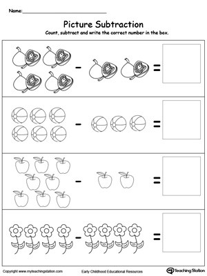 Simple Subtraction Worksheets for Kindergarten Learn to Substract with