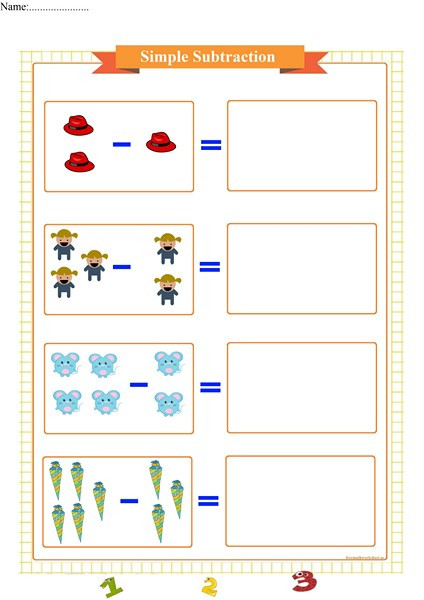 Simple Subtraction Worksheets for Kindergarten Simple Subtraction Worksheet for Kindergarten Free Math