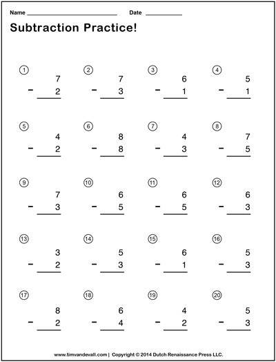 Simple Subtraction Worksheets for Kindergarten Simple Subtraction Worksheets for Students and Teachers