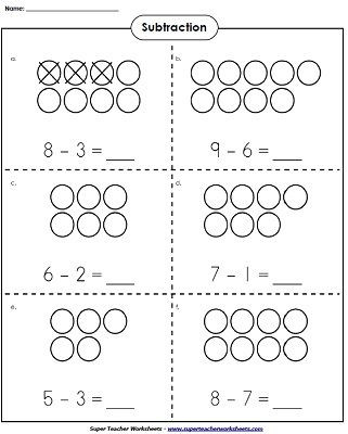 Simple Subtraction Worksheets for Kindergarten Use Counters to Learn Basic Subtraction Kindergartenmath