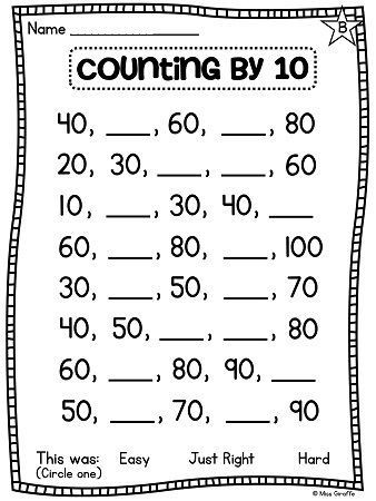 Skip Counting Worksheets First Grade Counting by 10 Worksheets In 2020