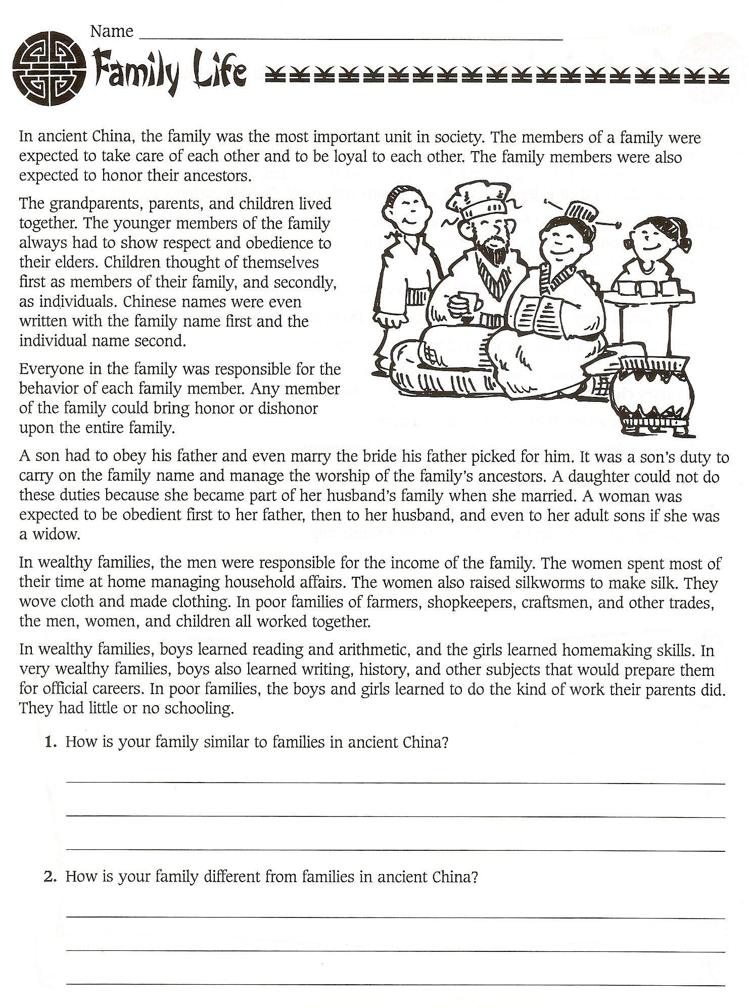 Social Studies Worksheets 6th Grade 6th Grade social Stu S Ancient China Worksheets World