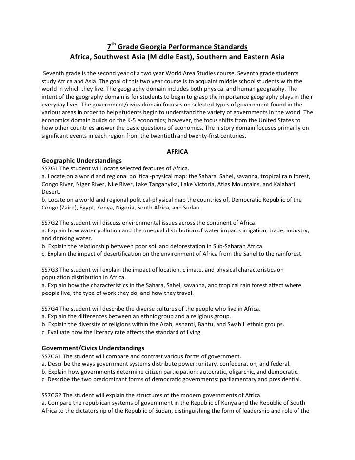Social Studies Worksheets 7th Grade 7th Grade social Stu S Georgia Performance Standards