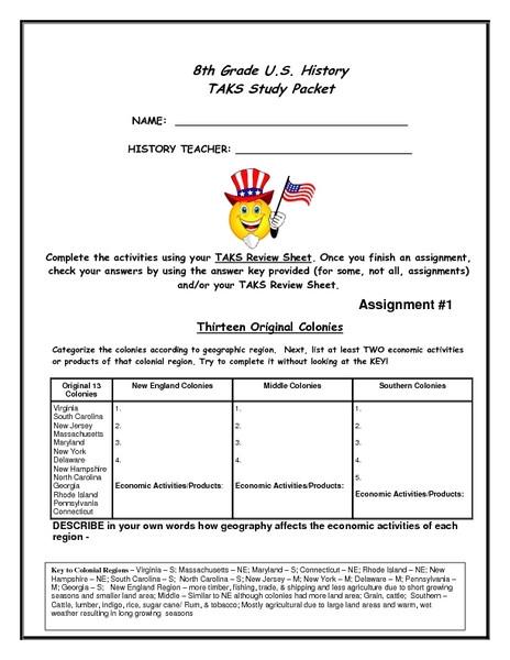 Social Studies Worksheets 8th Grade 8th Grade U S History Task Study Packet Worksheet for 8th