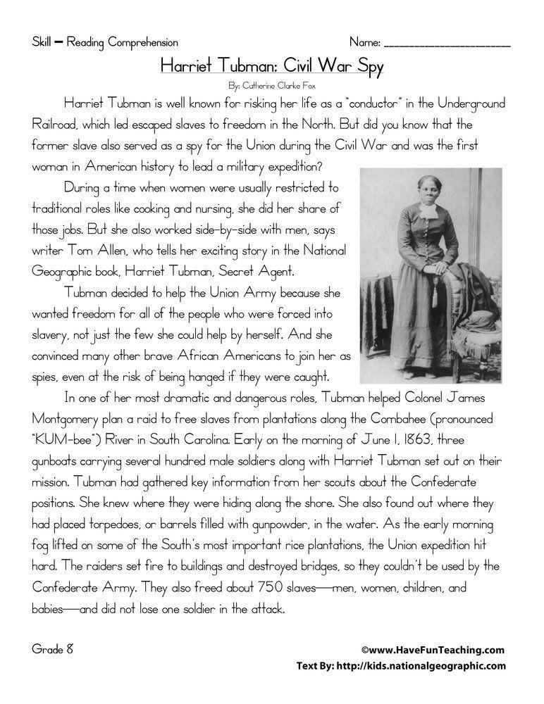 Social Studies Worksheets 8th Grade Harriet Tubman Civil War Spy Reading Prehension