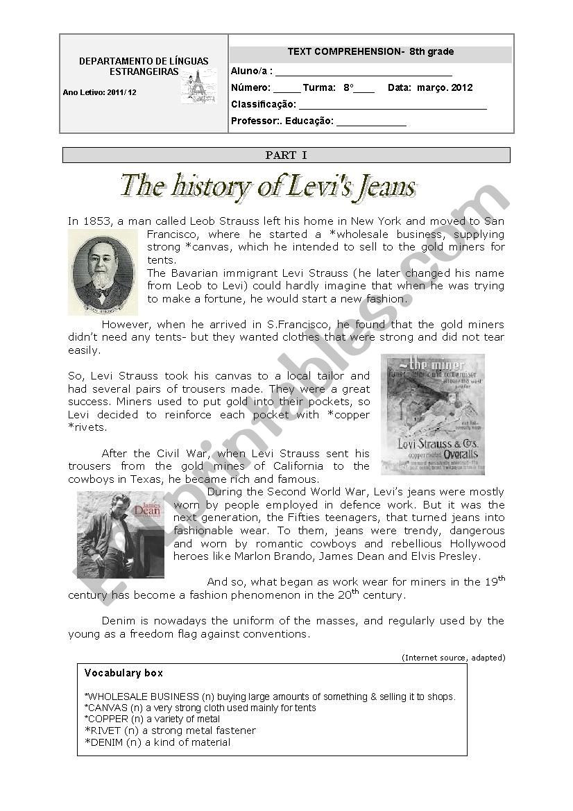 Social Studies Worksheets 8th Grade the History Of Levi´s Jeans 8th Grade Ws Esl Worksheet by