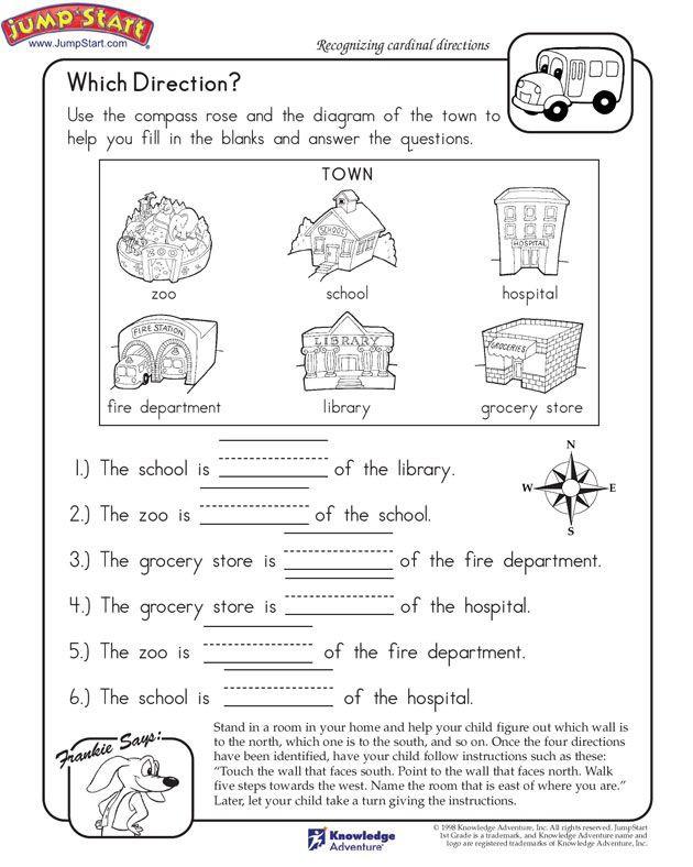 Social Studies Worksheets for Kindergarten which Direction Printable Worksheet for Kids