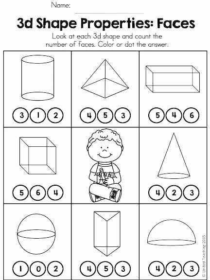 Solid Shapes Worksheets for Kindergarten 3d Shapes Worksheet Kindergarten Properties 3d Shapes