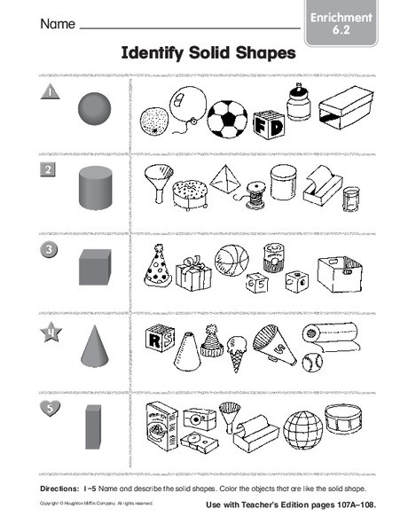 Solid Shapes Worksheets for Kindergarten Identify solid Shapes Worksheet for Kindergarten 1st Grade