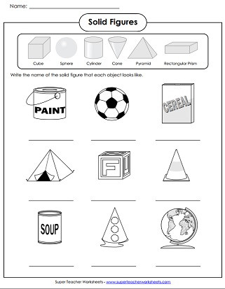 Solid Shapes Worksheets for Kindergarten solid Shapes Worksheets