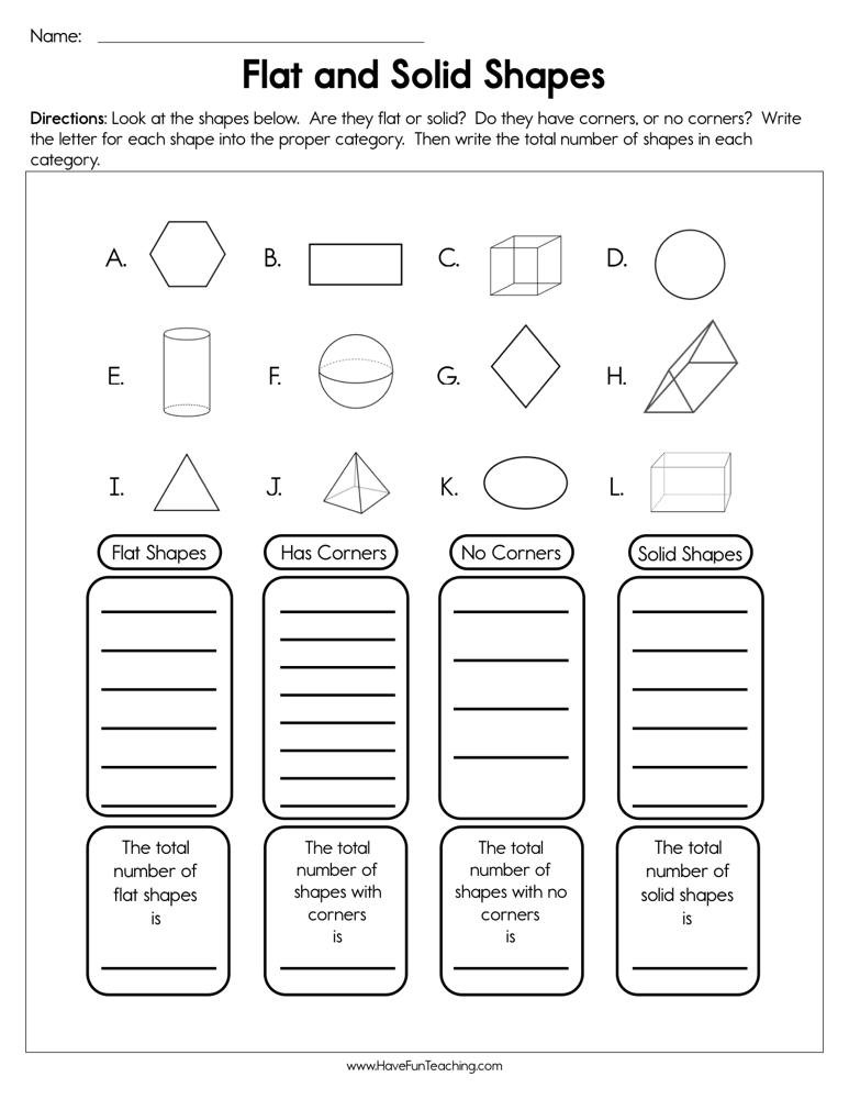 Sorting Shapes Worksheets First Grade Flat and solid Shapes Worksheet