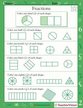 Sorting Shapes Worksheets First Grade Fractions Of Shapes 1 2 1 4 1 3 1 8 1 10 Worksheet
