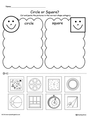 Sorting Shapes Worksheets First Grade Shape sorting Place the Circles and Squares Into the