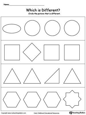Sorting Shapes Worksheets for Kindergarten Identify which Shape is Different