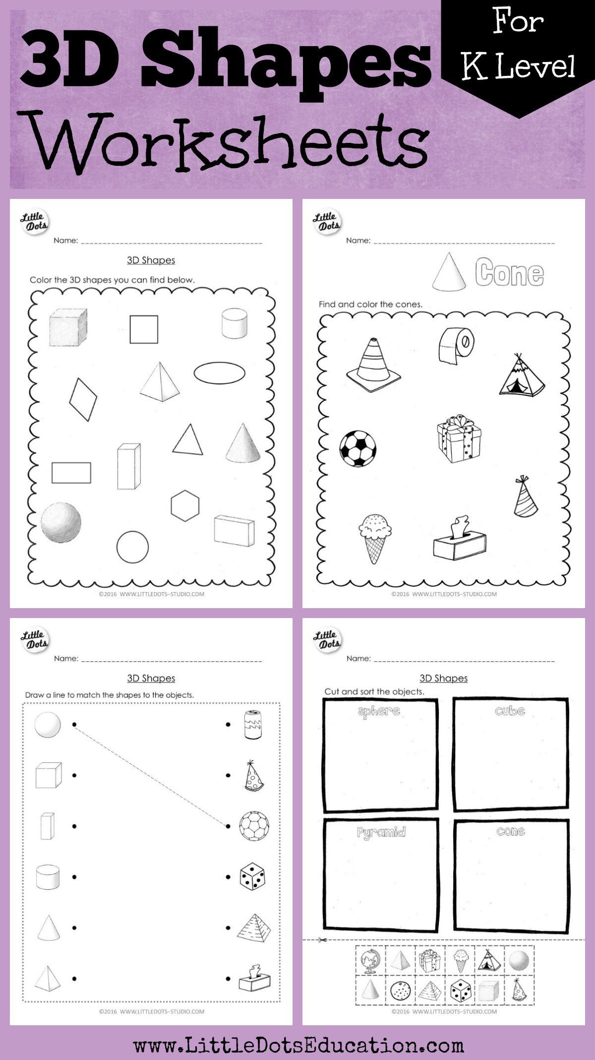 Sorting Shapes Worksheets for Kindergarten Kindergarten Math 3d Shapes Worksheets and Activities