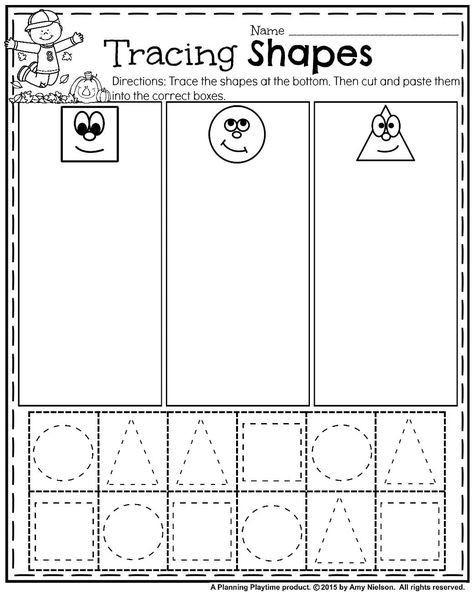 Sorting Shapes Worksheets for Kindergarten October Preschool Worksheets