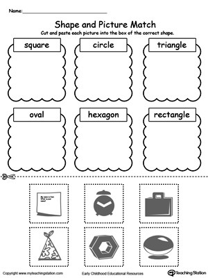 Sorting Shapes Worksheets for Kindergarten Shape and Picture Match