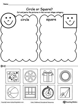 Sorting Shapes Worksheets for Kindergarten Shape sorting Place the Circles and Squares Into the