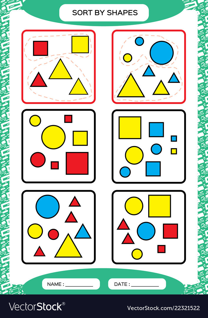 Sorting Shapes Worksheets for Kindergarten sort by Shapes sorting Game Group by Shapes