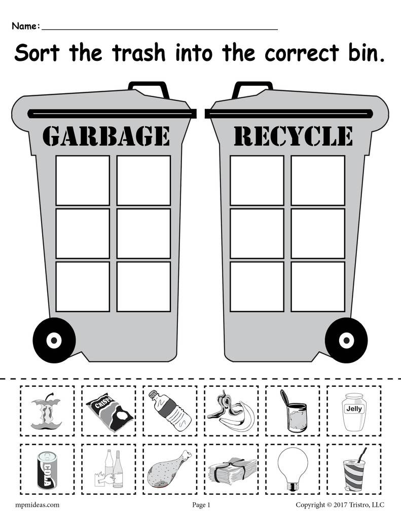 Sorting Worksheets for First Grade sorting Trash Earth Day Recycling Worksheets 4 Printable Versions