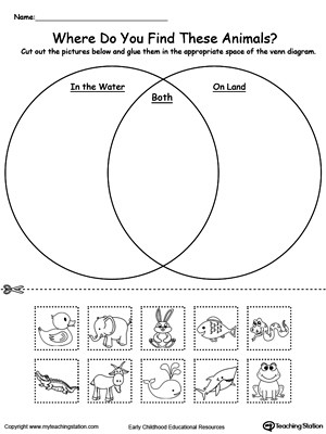 Sorting Worksheets for First Grade Venn Diagram Animals In Water and Land
