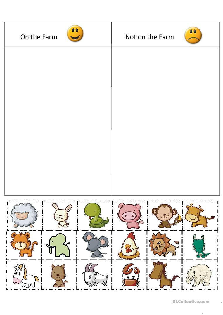 Sorting Worksheets for Kindergarten Farm sort English Esl Worksheets for Distance Learning and