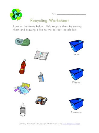 Sorting Worksheets for Kindergarten sort and Recycle Worksheet