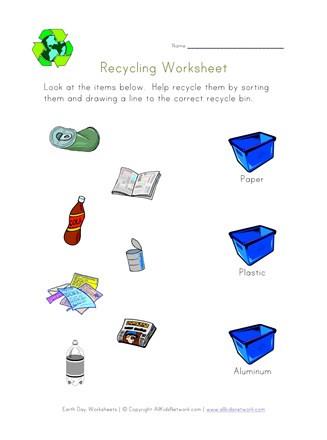 Sorting Worksheets for Kindergarten sort and Recycle Worksheet