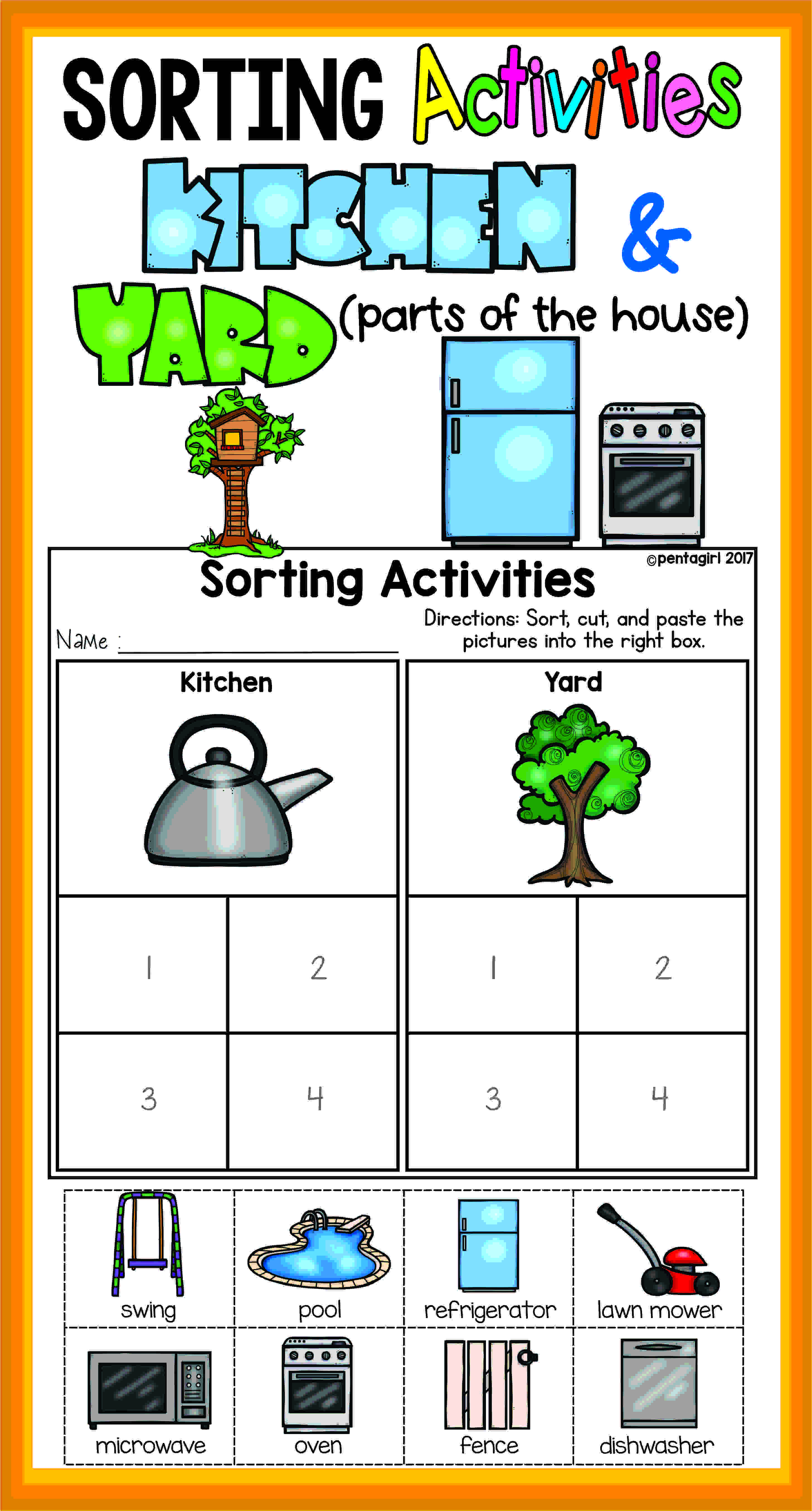 Sorting Worksheets for Kindergarten sorting Activities Posters and Worksheets Kitchen and Yard