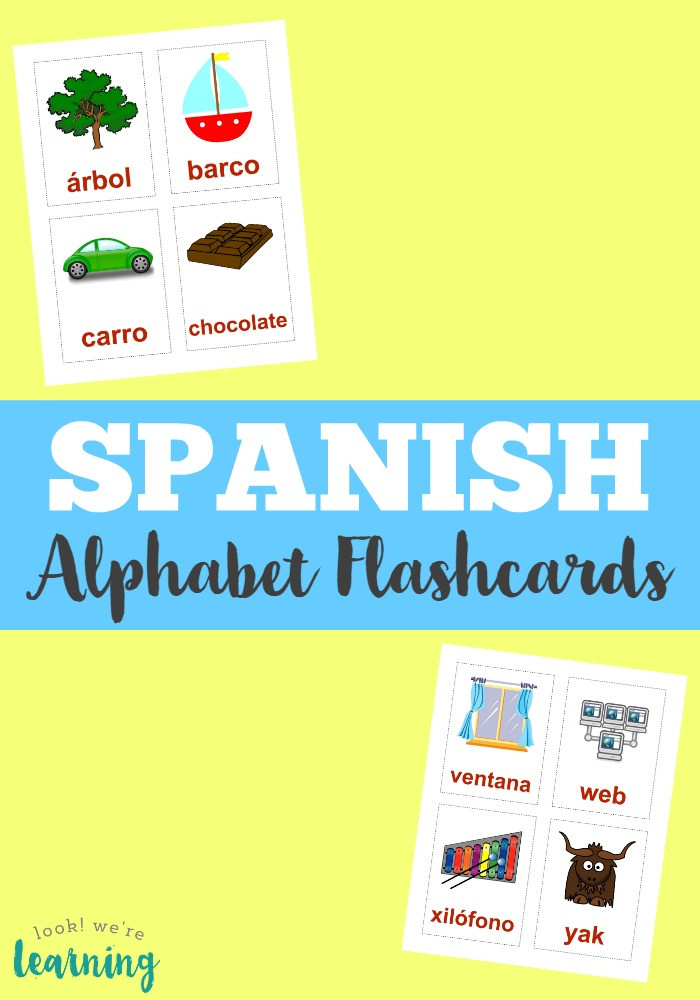 Spanish Alphabet Chart Printable Printable Spanish Flashcards Spanish Alphabet Flashcards