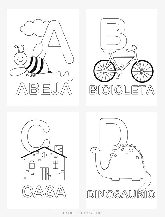 Spanish Alphabet Worksheets for Kindergarten Spanish Alphabet Coloring Mr Printables Worksheets