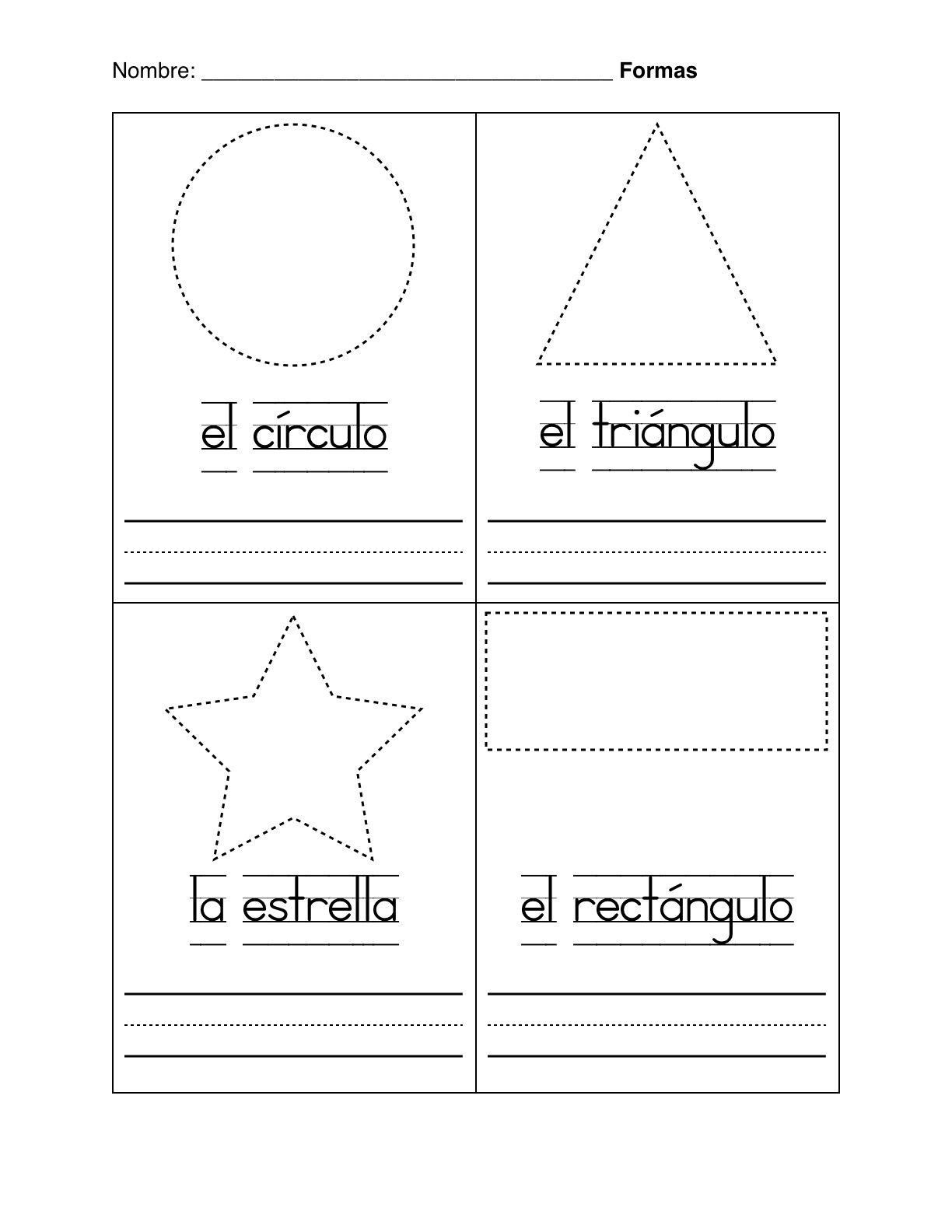 Spanish Kindergarten Worksheets Basic Shapes In Spanish formas Basicas Worksheet