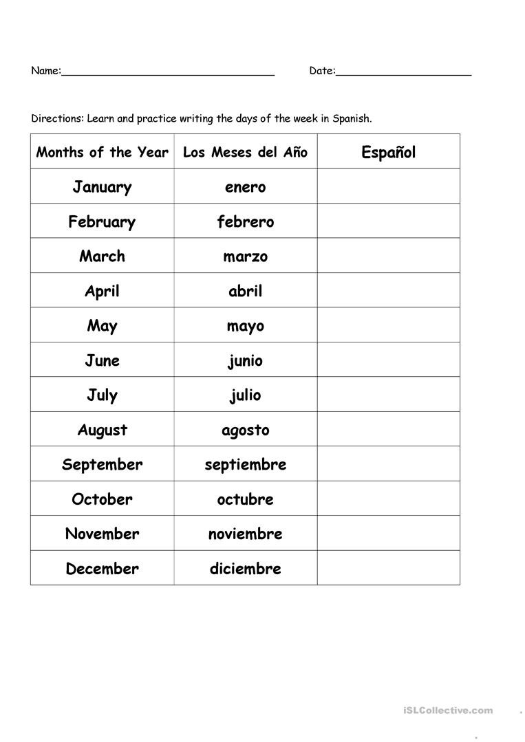 Spanish Kindergarten Worksheets Months Of the Year In Spanish English Esl Worksheets for