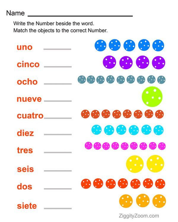 Spanish Kindergarten Worksheets Spanish Numbers Worksheet